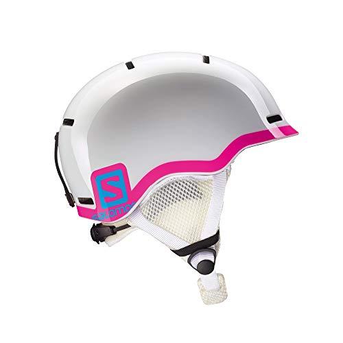 Salomon Kinder Grom Ski- und Snowboardhelm, In-Mold-Schale und EPS-Innenschale, Kopfumfang 53-56 cm, weiß/pink, Größe M, L37773500
