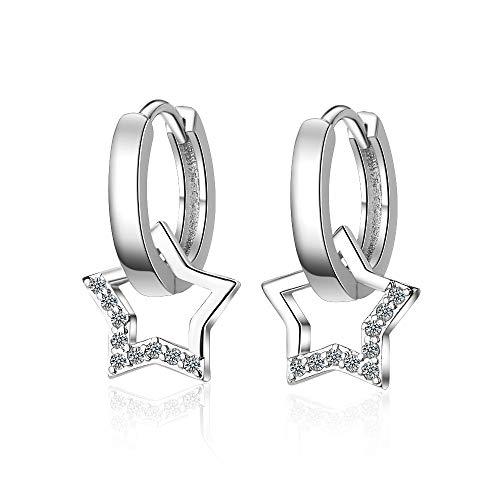 GUOQUN-SHOP Conjunto Sterling Zircon Star Jewelry Forma Redonda Lindo Estilo de Moda Pendientes para Mujeres Novia Boda Banquete de Oreja para Mujer
