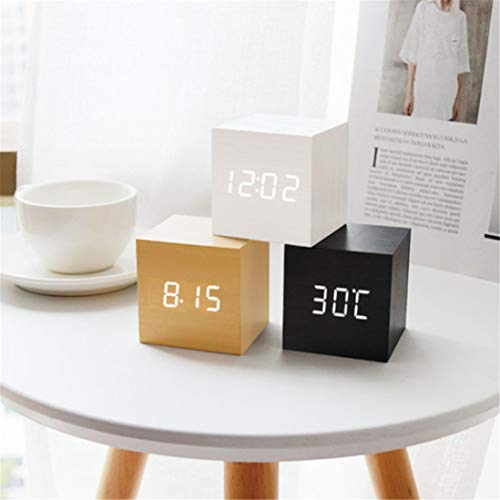 N+A Digitaler Wecker, Mini-Wecker aus Holz Schreibtischuhr Wecker Zeit Temperaturanzeige, 3 Stufen Helligkeit (Weiß)