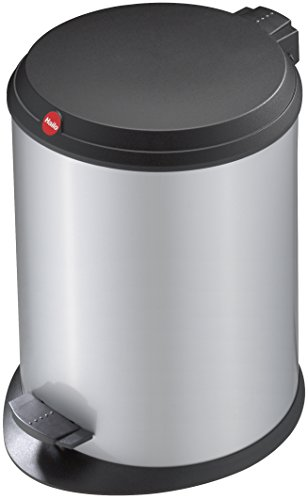 Hailo T1 M, Mülleimer aus Stahlblech mit Kunststoff-Deckel, 11 Liter, großer Öffnungswinkel, standfest, Tragegriff, silber, made in Germany, 0513-319