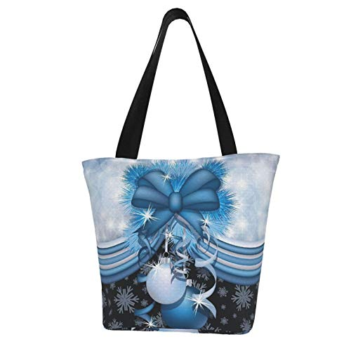 SLAFD Waterproof Women Canvas Shoulder Bag, Christmas Ornaments Blue Casual Handbag Shopping Bag Travel Beach Tote Bag for Women Ladies
