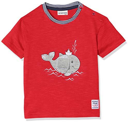 SALT AND PEPPER Salt & Pepper Baby-Jungen B Pirat Uni Wal mobil T-Shirt, Rot (Red 358), 74