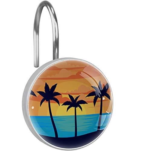 ZDL Sunset Beach Coconut Tree Silhouette- Gancho de ducha, cada juego de 12 ganchos de ducha de acero inoxidable, anillo de decoración de baño, sala de estar, dormitorio, decoración del hogar