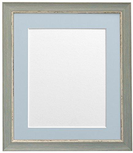 Frames By Post A3 Nordic fotolijst in antiek-look met lichtblauw-grijze passe-partout voor fotoformaat A4, blauw