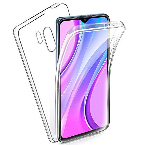 AROYI Funda Compatible con Xiaomi Redmi 9, Ultra Slim Doble Cara Carcasa Protector Transparente TPU Silicona y PC Dura Resistente Anti-Arañazos Protectora Case Cover