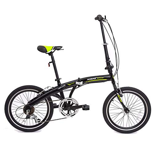 Murtisol Folding Bike 20'' Hybrid Bicycle Reinforced Frame Commuter Bike with 6 Speeds Derailleur, Durable Frame, Adjustable Seat in 4 Colors