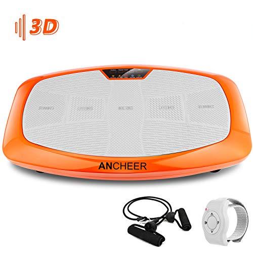 ANCHEER 3D Fitness Vibrationsplatte mit Ultra-breite Oberflächen, Ganzkörper Training Sport rüttelplatte Slim Vibration Plate Shaper mit Mehrere Modi, 2 Tainingsbändern, Fernbedienung