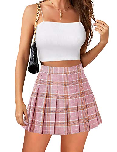 Womens Mini Pleated Skirt High Wais…