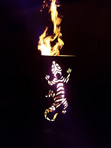 Tiko-Metalldesign Feuerkorb/Feuertonne mit Gecko Motiv