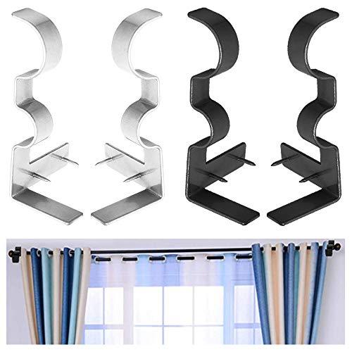 Senhai 4 piezas Soporte de barra de cortina, Portacañas de doble cortina Hardware, Directamente clavado En el marco de la ventana para dormitorio Cocina Ventana Doselera Decoración