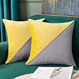 Yellow and Gray Pillow Covers 20x20 Inches Set of 2, Two Tone Velvet Decorative Throw Pillow Covers for Sofa