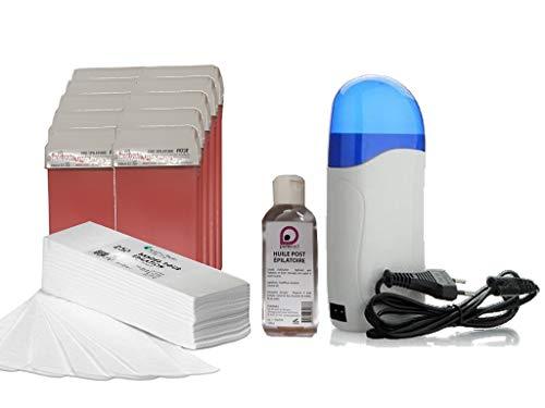 Kit EPILATION avec Chauffe Cartouche +10 cartouches de cire ROSE +250 bandes d'épilation +1 Huile Post Épilatoire 100 ml - Purewax By Purenail