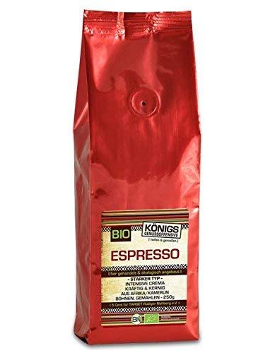 KÖNIGs Genussoffensive Fairtrade Kaffee, Espresso stark,gemahlen, 70% Arabica - 30% Robusta, schonende Langzeitröstung, 250g - Bremer Gewürzhandel