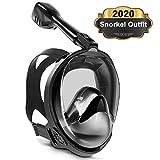 Keystand Full Face Snorkel Mask, 2020 Upgraded Breathing Mechanism Snorkeling Mask, Flat Crystal Lens, 180 Degree Anti- Leak/Fog...