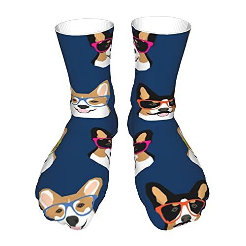 Fodmua Corgi - Calcetines para perros y bigotes con gafas para perros y mujeres