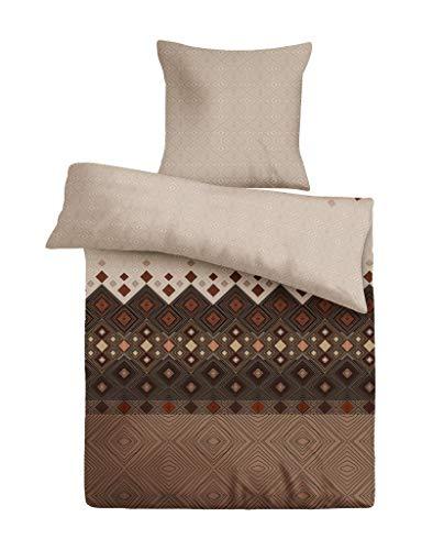 Bettwäsche-Set (2-teilig) Kaffee-braun, Bettdeckenbezug 135x200, Kopfkissenbezug 80x80, Renforce 100% Baumwolle mit praktischem Reißverschluss, pflegeleicht, trocknergeeignet, auf Schadstoffe geprüft