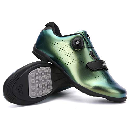 WYUKN Cycling Shoes Mens,professional Non-locking Bicycle Shoes Women,breathable Mesh Sports Cycling Shoes,sole - Rubber,Green-A-43
