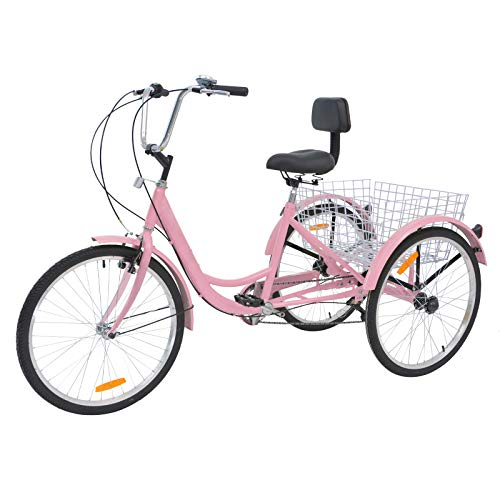MOPHOTO Adult Tricycles Three Wheel Cruiser Bike 7 Speed, Adult Trikes 24/26 inch Wheels Low Step-Through, Three-Wheeled Bicycles with Cargo Basket for Women, Men, Seniors