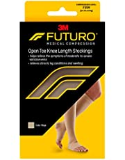 Futuro Therapeutic Knee Length Stockings for Men/Women, Helps Relieve Symptoms of Mild Spider Veins, Firm Compression, Open Toe, Large, Beige
