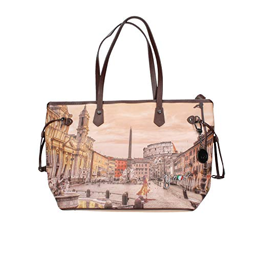 YNOT Shopping Bag Medium YES-319F0 BROWN-ROME 44,5 x 16,8 x 28,6 cm