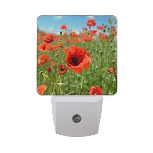 AOTISO Campo de amapola roja Flor floral Sensor automático Luz de noche Enchufable Interior