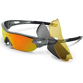 Torege Polarized Sports Sunglasses With 3 Interchangeable Lenes for Men Women Cycling Running Driving Fishing Golf Baseball Glasses TR002  Transparent Gray&Orange lens