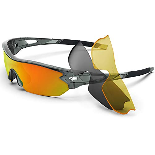 Torege Polarized Sports Sunglasses With 3 Interchangeable Lenes for Men Women Cycling Running Driving Fishing Golf Baseball Glasses TR002 (Transparent Gray&Orange lens)
