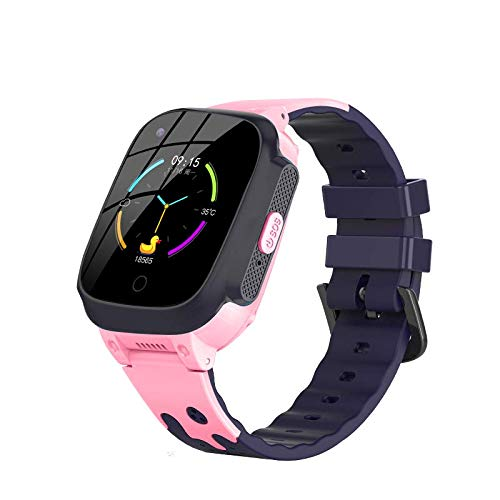 4G Kids Waterproof Smart Watches for Girls and Boys with GPS Tracker and Thermometer Fitting Android and iOS (Pink)