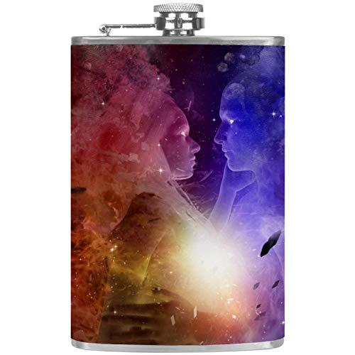 Petaca plana para licor de 8 onzas con embudo, acero inoxidable y 100% a prueba de fugas Yin Yang Space Galaxy Starry
