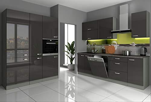 Küche Vario II 240+160 cm Küchenzeile in Hochglanz Grau Küchenblock Einbauküche