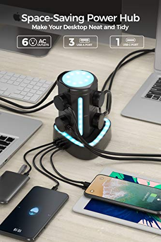 ESHLDTY RGB Power Strip Tower Surge Protector with 20W USB C Fast Charger, 3 USB Ports, 6 AC Outlets and 6ft Extension Cord Rhythm Light Waterproof Charging Station for Game Party Desk Tablet Laptops