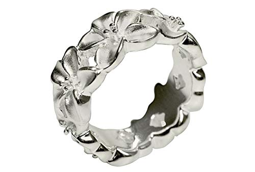 SILBERMOOS Anillo de mujer en forma de flor corona de flores anillo en forma de rosa tratado con chorro de arena brillante Plata esterlina 925, Tamaño del anillo:18