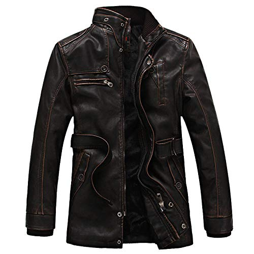 Chaqueta de cuero para hombres 2020, chaqueta de cuero vintage vintage para hombre más terciopelo acolchado Pu chaqueta masculina mediada longitud cortavientos chaqueta masculina