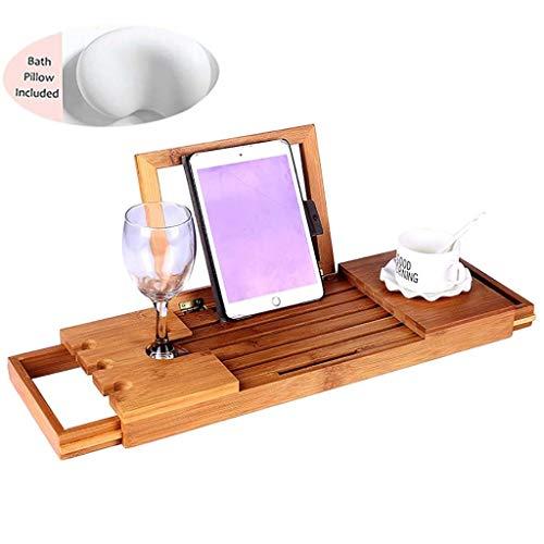 Baignoire de luxe en bambou Caddy Baignoire Plateau, baignoire Oreiller Inclus Extension 50-93cm intégré Support livre tablette portable Plateau et intégré Porte-verre à vin et autres accessoires de p