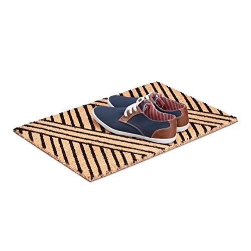 Relaxdays deurmat strepen van kokos, HxBxD: 1,5 x 60 x 40 cm, antislip, gestreept, kokosvezel, rubber, natuurzwart
