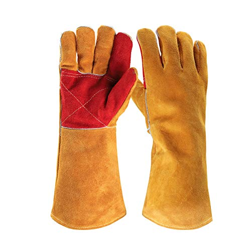 Benozit 16Inches Leather Welding Gloves for Mig/Stick Welders, Heat Resistant/Fire proof Gloves for BBQ/Fireplace, Puncture Resistant Gloves for Garden and Animal Handling
