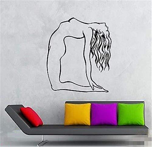 Adhesivo de pared para dormitorio con diseño de chica desnuda yoga pose, fitness y deporte