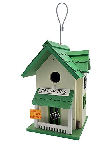 kamelshopping Farbenfohes Vogelhaus aus Echtholz gefertigt, Vogelvilla zum Hängen, Nistkasten für Garten und Balkon (Irish Pub)