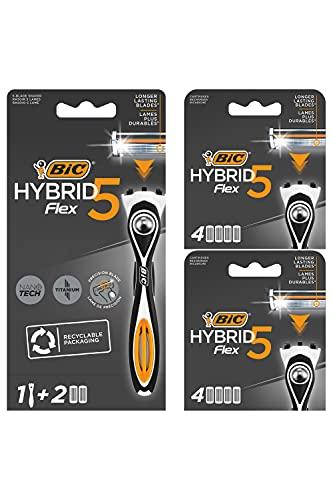 BIC RAZORS Hybrid 5 Flex - Maquinilla para Hombre Recargable, 1 Mango con Contrapeso y Recambios de 5Hojas de Titanio con Nanotecnología - Caja de 1+10