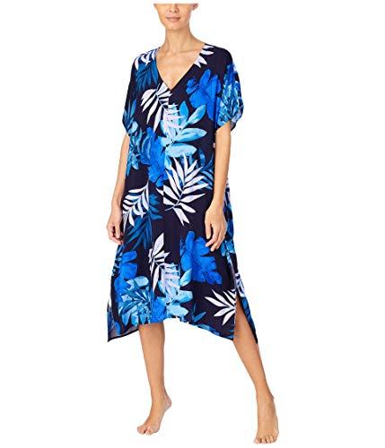 Donna Karan Viscose Plain Weave Caftan Ink Tropical SM/MD (US Women's 4-10)