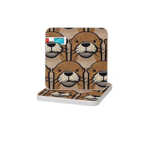 2PCS Square Diatomite Coasters Home Decoration Non-slip Cup Mats for Drinks Toothbrush Holder Soap Tray Bathroom and Kitchen,Otters With 3d Glasses