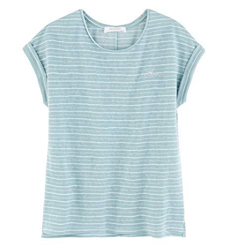 Promod T-Shirt mit Stickeckerei Opalblau L