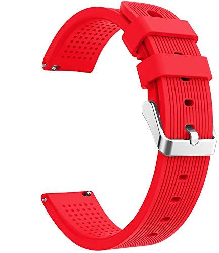 Simpleas Correa de Reloj Recambios Correa Relojes Caucho Compatible con Huawei Watch GT 2 (42mm) / Honor Watch Magic 2 (42mm) - Silicona Correa Reloj con Hebilla (20mm, Escarlata)