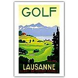 Weiteng Cartel de Viaje Vintage de Las películas de Furka Golf Ascona Zinal de Suiza Sala de Estar y Estudio Decoración de apartamento 50x70cm Q-1006