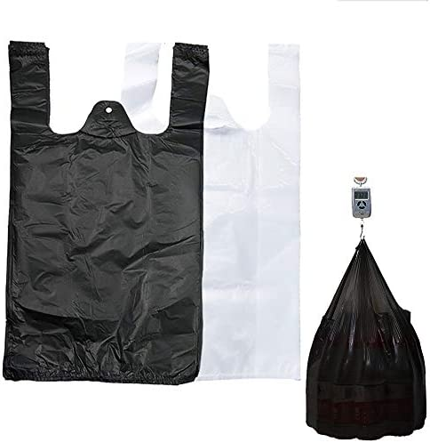LAOSHUWOO 12 x 20 inches Plastic T Shirt Bags With Handles Merchandise Bags in Large Size Shopping product image