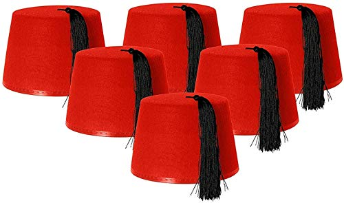 PACK OF 6 FEZ HATS RED FANCY DRE...