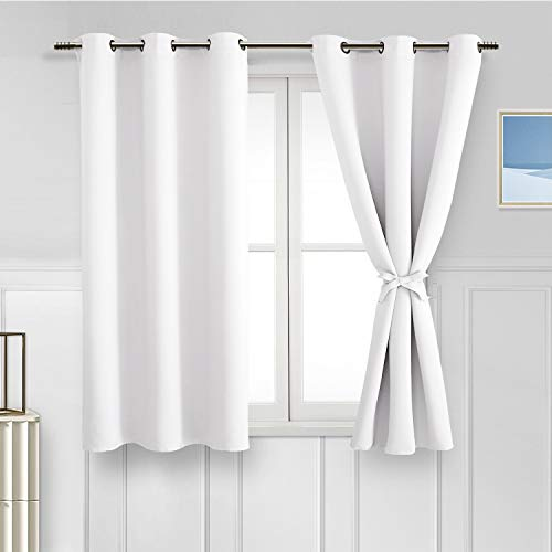 Hiasan Tieback Backout Curtains for Bedroom - Thermal Insulated & Light Blocking Window Curtains for Living Room/Kids Room, 2 Panels, Greyish White, 42 x 45 Inch