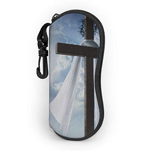 Funda de Gafas Cielo azul con nubes y rayos de sol en una mañana de Pascua Ultra Ligero Neopreno Suaves viaje Estuche para Gafas de caso Bolsa con Clip de Cinturón