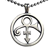 Male Female Soapstone Love Sex Round Icon Symbol Sign Prince Pewter Unisex Women's Men's Boy's Girl's Pendant Necklace Medallion Lucky Charm protection amulet for Men Women W Silver Ball Chain