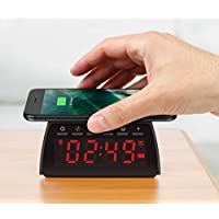 Aluratek Bluetooth Streaming FM Clock Radio with Qi Wireless Charging Pad